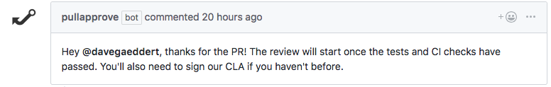 Pull request automated review comment from PullApprove